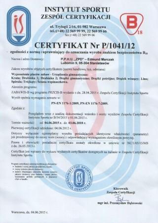 Certyfikat zgodności z PN EN 1176 Zestaw Gimnastyczny