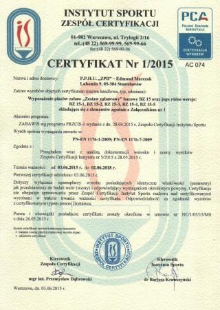 Certyfikat zgodności z PN EN 1176 Zestawy Zabawowe BZ15