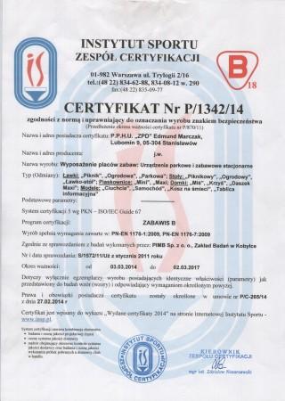 Certyfikat zgodności z PN EN 1176 Meble Ogrodowe